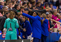LE HAVRE,  - JUNE 20: Jess McDonald #22 yells to the fans during a game between Sweden and USWNT at Stade Oceane on June 20, 2019 in Le Havre, France.