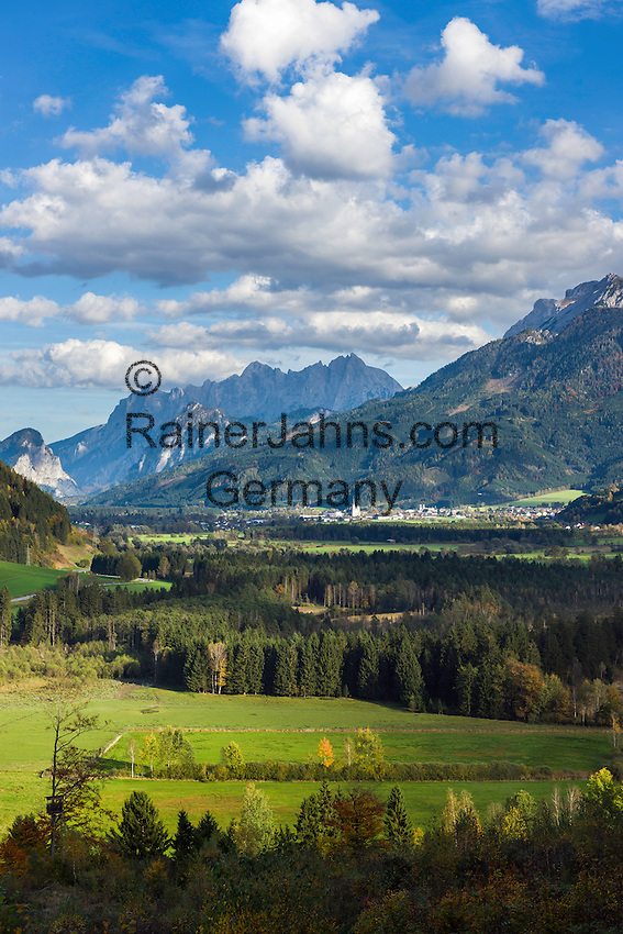 Austria, Styria, Admont: in Enns Valley with Ennstal Alps and Gesaeuse mountains | Oesterreich, Steiermark, Admont: im Ennstal mit den Ennstaler Alpen und dem Gesaeuse