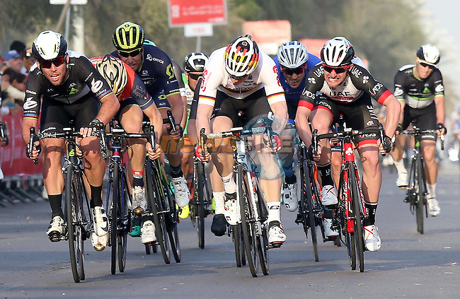 Mark Cavendish (GBR) Team Dimension Data outsprints Andre Greipel (GER) Lotto-Soudal to win Stage 1 Emirates Motor Company Stage of the 2017 Abu Dhabi Tour, running 189km from Madinat Zayed through the desert and back to Madinat Zayed, Abu Dhabi. 23rd February 2017<br /> Picture: ANSA/Matteo Bazzi | Newsfile<br /> <br /> <br /> All photos usage must carry mandatory copyright credit (&copy; Newsfile | ANSA)