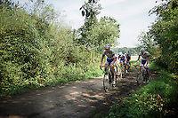 Riders have very little margin for error on these very slippery 'gravel roads'. <br /> Jelle Wallays (BEL/Topsport Vlaanderen-Baloise) feels good today though and will be showing himself later that day.<br /> <br /> 90th Schaal Sels 2015