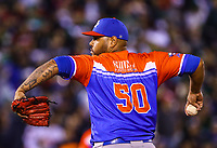 Adalberto Flores, starting pitcher of the Criollos de Caguas of Puerto Rico<br /> &nbsp;, throws the ball in the first inning of the Caribbean Series baseball game against the Tomateros of Culiacan de Mexico in Guadalajara, Mexico, Friday, February 2, 2018. (AP Photo / Luis Gutierrez)