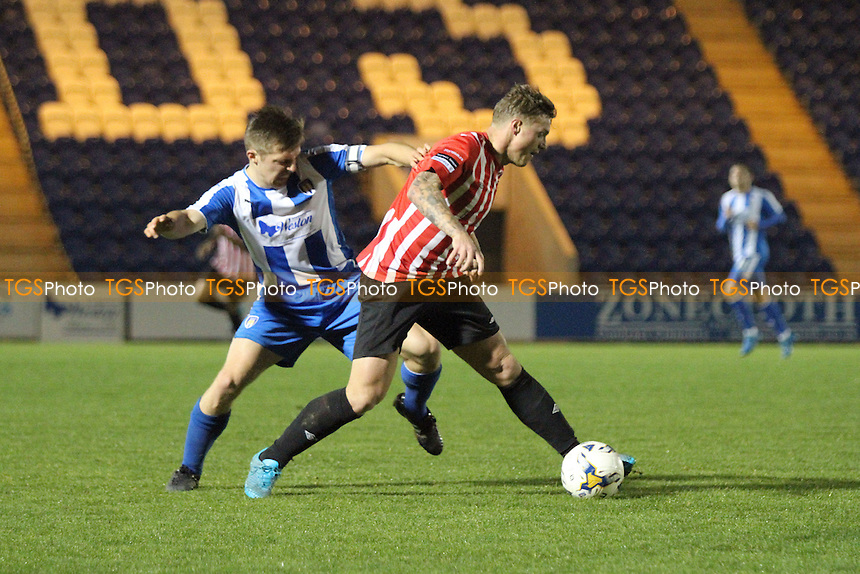 George Purcell of Hornchurch runs with the ball during Colchester United vs AFC Hornchurch, BBC Essex Senior Cup Football at the Weston Homes Community Stadium, Colchester, England on 03/11/2015