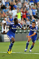 Birahim Diop celebrates his first goal, with Davy Arnaud...Kansas City Wizards defeated New England Revolution 4-1 at Community America Ballpark, Kansas City , Kansas.