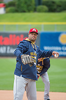 Pitching coach Fred Dabney (38) of the Colorado Springs Sky Sox before the game against the Salt Lake Bees in Pacific Coast League action at Smith's Ballpark on May 22, 2015 in Salt Lake City, Utah.  (Stephen Smith/Four Seam Images)