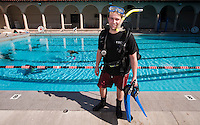 Occidental College student Evan Poirson '09 photographed at Taylor Pool while practicing with scuba gear. Poirson is part of the Vantuna Research Group. January 30, 2009. (Photo by Marc Campos, Occidental College Photographer)