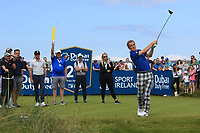 Jimmy Nesbitt (AM) on the 2nd tee during the Pro-Am of the Irish Open at LaHinch Golf Club, LaHinch, Co. Clare on Wednesday 3rd July 2019.<br /> Picture:  Thos Caffrey / Golffile<br /> <br /> All photos usage must carry mandatory copyright credit (© Golffile | Thos Caffrey)
