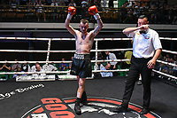 Bobby Woods (black shorts) defeats Naheem Chaudhry during a Boxing Show at York Hall on 29th June 2019