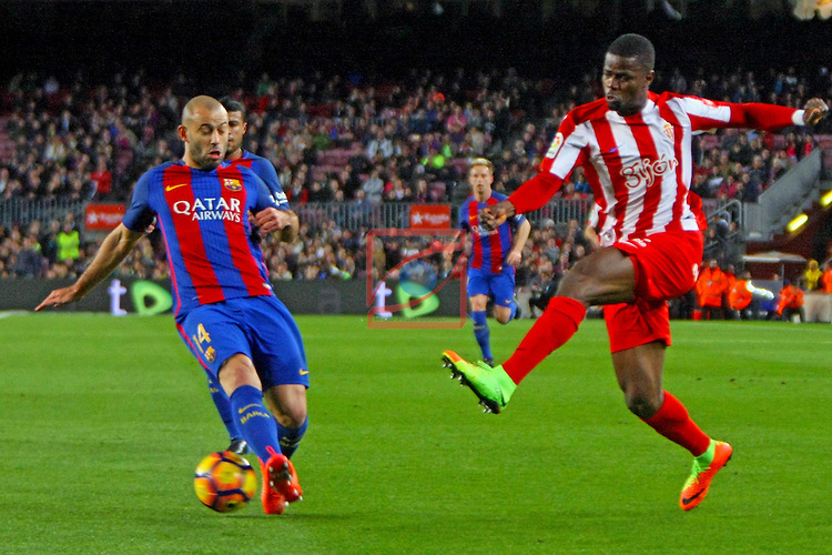 League Santander 2016/2017. Game: 25.<br /> FC Barcelona vs Real Sporting SAD: 6-1.<br /> Javier Mascherano vs Echiejile.