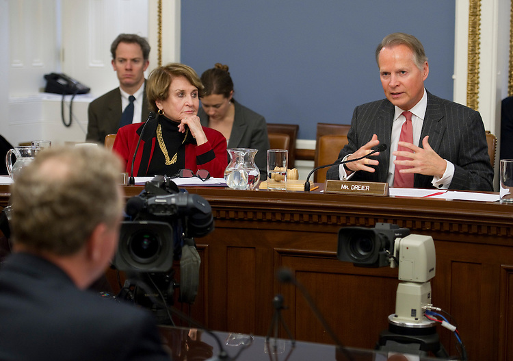 WASHINGTON, DC- Jan. 19: House Rules ranking member Louise M. Slaughter, D-N.Y., and Chairman David Dreier, R-Calif., during the panel's hearing on a resolution advocating a rollback of federal spending to fiscal 2008 levels. In foreground is U.S. Rep. Chris Van Hollen, D-Md., who was testifying. (Photo by Scott J. Ferrell/Congressional Quarterly)