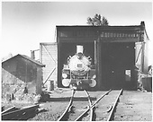 The front end of C&amp;TS #487 poking out of the Chama engine house.<br /> C&amp;TS  Chama, NM  Taken by Reiley, Dan
