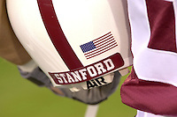Stanford players show support for the tragedy that struck the nation on Sep. 11, 2001 during Stanford's 51-28 victory over ASU on September 22, 2001 at Stanford Stadium.<br />Photo credit mandatory: Gonzalesphoto.com