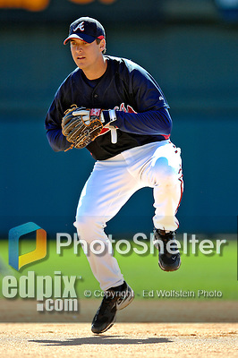 5 March 2007: Atlanta Braves infielder Kelly Johnson takes grounder practice prior to facing the Washington Nationals at Disney's Wide World of Sports in Orlando, Florida. The Braves are celebrating 10 years of Spring Training at the Disney facility.<br /> <br /> Mandatory Photo Credit: Ed Wolfstein Photo
