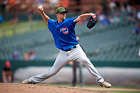 Iowa Cubs relief pitcher Pierce Johnson (32) delivers a pitch during a game against the Memphis Redbirds on May 29, 2017 at AutoZone Park in Memphis, Tennessee.  Memphis defeated Iowa 6-5.  (Mike Janes/Four Seam Images)