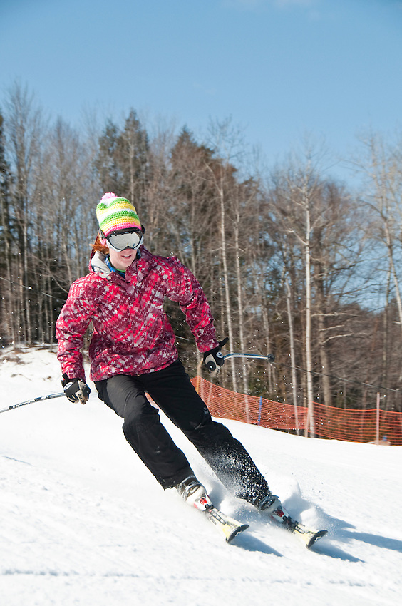 Skiing at Marquette Mountain ski area in Marquette Michigan.