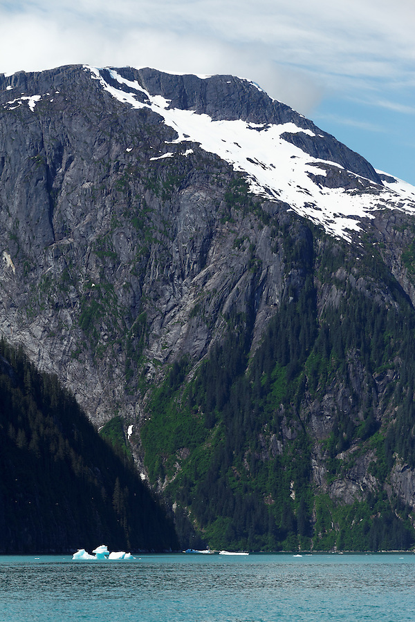 Sheer-walled mountains rising above Tracy Arm, Southeast Alaska, USA