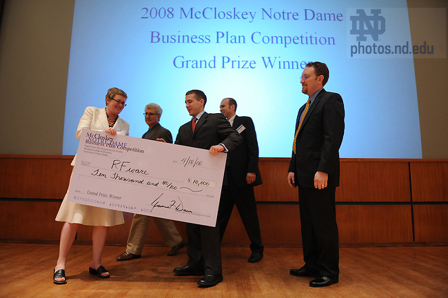 Team RFWare receives their check after winning the McCloskey Business Plan competition, April 18, 2008.