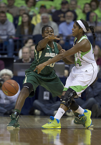 December 05, 2012:  Notre Dame forward Ariel Braker (44) passes the ball as Baylor forward Destiny Williams (10) defends during NCAA Women's Basketball game action between the Notre Dame Fighting Irish and the Baylor Bears at Purcell Pavilion at the Joyce Center in South Bend, Indiana.  Baylor defeated Notre Dame 73-61.