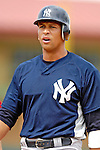 16 March 2007: New York Yankees third baseman Alex Rodriguez takes a breather after reaching first base during a spring training game against the Houston Astros at Osceola County Stadium in Kissimmee, Florida...Mandatory Photo Credit: Ed Wolfstein Photo