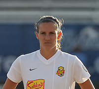 Western New York Flash defender Katherine Reynolds (16). In a National Women's Soccer League Elite (NWSL) match, the Boston Breakers (blue) tied Western New York Flash (white), 2-2, at Dilboy Stadium on June 5, 2013.