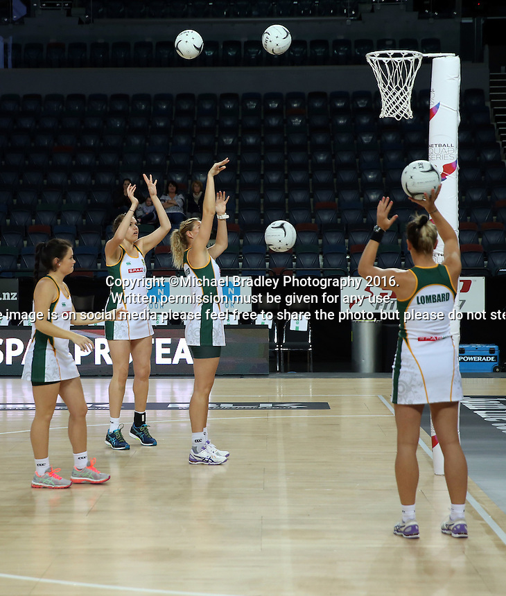 27.08.2016 South Africa's shooter warm up prior to the Netball Quad Series match between South Africa and Australia at Vector Arena in Auckland. Mandatory Photo Credit ©Michael Bradley.