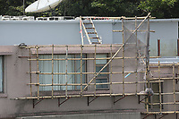 General views of bamboo used as scaffolding on a house from The Peak of Hong Kong  on 5.4.19.