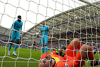 Hugo Lloris of Tottenham Hotspur lies injured after conceding the first goal during Brighton & Hove Albion vs Tottenham Hotspur, Premier League Football at the American Express Community Stadium on 5th October 2019