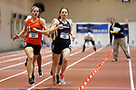 NAPERVILLE, IL - MARCH 11: Chelsea Gilles of Greenville College, left, and Sarah King of George Fox University, right, compete for first place in the women's 400 meter dash at the Division III Men's and Women's Indoor Track and Field Championship held at the Res/Rec Center on the North Central College campus on March 11, 2017 in Naperville, Illinois. (Photo by Steve Woltmann/NCAA Photos via Getty Images)