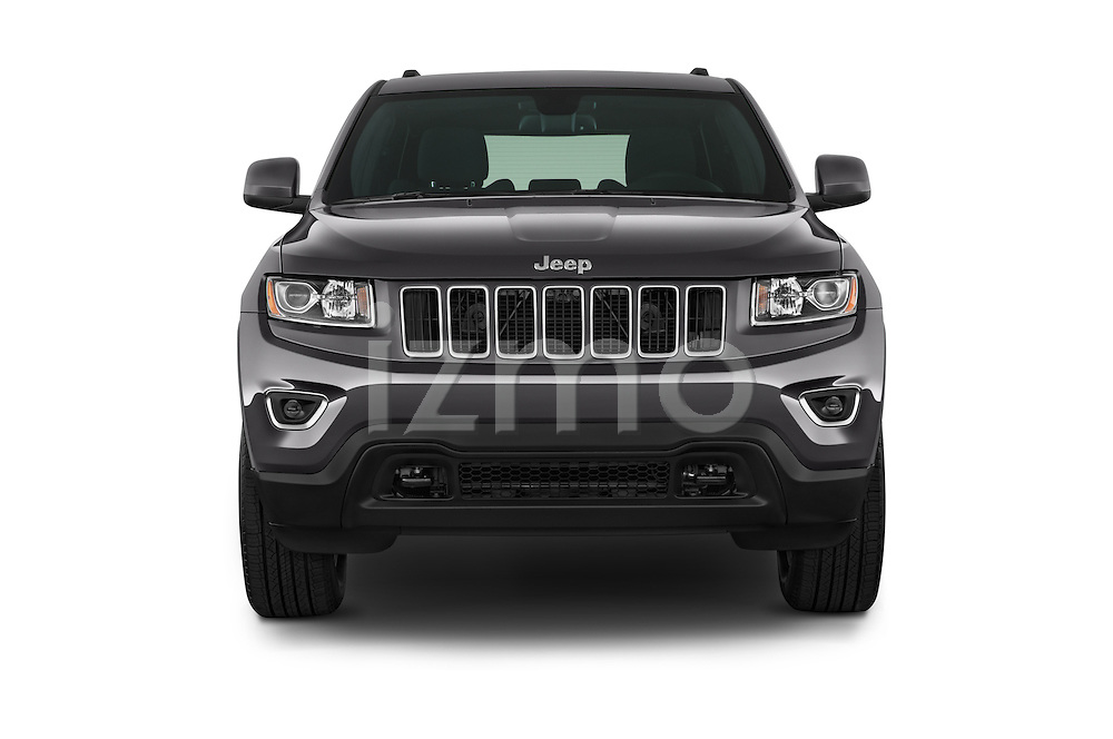 Car photography straight front view of a 2014 JEEP Grand Cherokee Laredo 5 Door SUV Front View