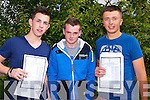 PROUD:  With their leaving cert results on Wednesday were students of Killorglin Community College Jack Barrett (Killorglin), Gavin O'Connor (Beaufort) and Kyle Griffin (Castlemaine)