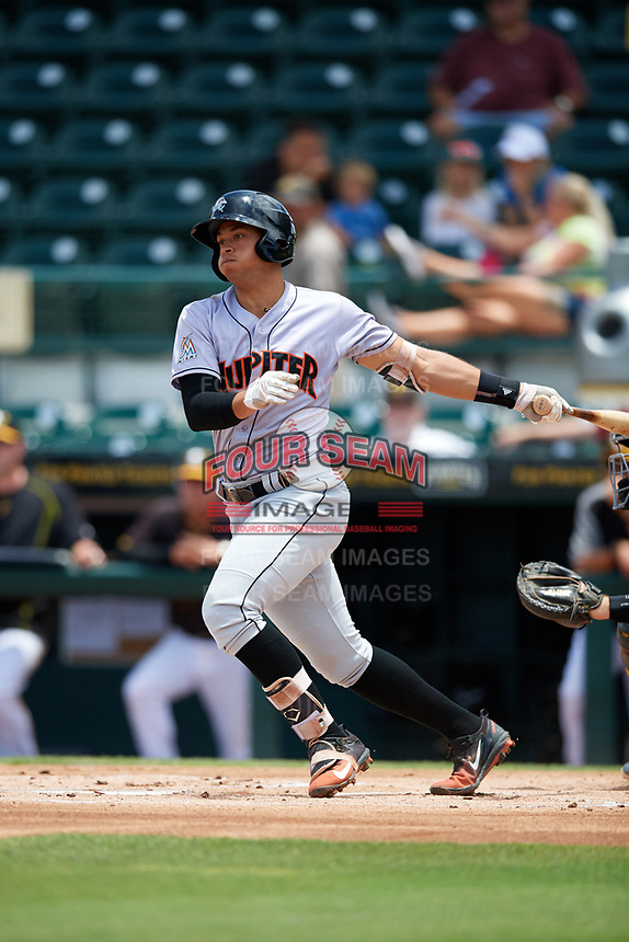 Jupiter Hammerheads shortstop Joe Dunand (3) at bat during the first game of a doubleheader against the Bradenton Marauders on May 27, 2018 at LECOM Park in Bradenton, Florida.  Bradenton defeated Jupiter 13-5.  (Mike Janes/Four Seam Images)