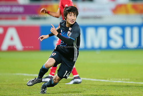 Yuta Toyokawa (JPN), <br /> JANUARY 22, 2016 - Football / Soccer : <br /> AFC U23 Championship Qatar 2016 <br /> Quarter-final match between <br /> Japan 3-0 Iran <br /> at Abdullah Bin Khalifa Stadium in Doha, Qatar. <br /> (Photo by Yohei Osada/AFLO SPORT)