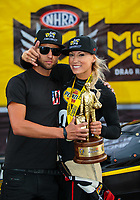 Jul 22, 2018; Morrison, CO, USA; NHRA top fuel driver Leah Pritchett celebrates with crew after winning the Mile High Nationals at Bandimere Speedway. Mandatory Credit: Mark J. Rebilas-USA TODAY Sports