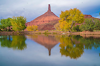 Castle Rock (Castleton Tower) reflected in pond on Castle Creek, Castle Valley, Utah, near Moab, Colorado River