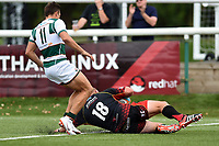 Brok Harris of the Dragons scores a second half try. Pre-season friendly match, between Ealing Trailfinders and the Dragons on August 11, 2018 at the Trailfinders Sports Ground in London, England. Photo by: Patrick Khachfe / Onside Images