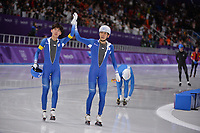 OLYMPIC GAMES: PYEONGCHANG: 24-02-2018, Gangneung Oval, Long Track, Mass Start Men, Chung Jaewon (KOR) and Olympic champion Lee Seung-Hoon (KOR), ©photo Martin de Jong