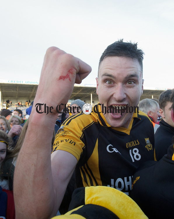 Ballyea's Damien Burke celebrates following the Munster Club hurling final against Glen Rovers at Thurles. Photograph by John Kelly.