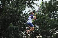 FIERLJEPPEN: IT HEIDENSKIP: Accommodatie It Swaeigat, Fierljepvereniging It Heidenskip, 15-082012, 1e Klas wedstrijd, Senioren Topklasse, winnaar Thewis Hobma (#143), ©foto Martin de Jong