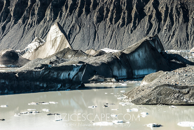 Floating icebergs on terminal lake of Tasman Glacier, Mt. Cook National Park, Mackenzie Country, New Zealand