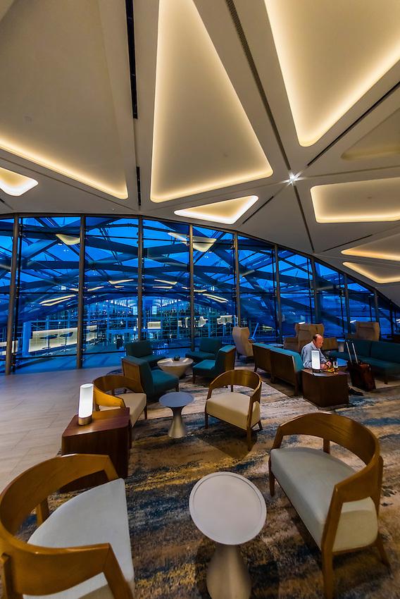 Lobby lounge area, Westin Denver International Airport Hotel, Denver, Colorado USA.