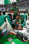 01 June 2008: The Andretti-Green Racing crew prepares Tony Kanaan (BRA) for the start of the ABC Supply Company Inc. AJ Foyt 225 IndyCar race at the Milwaukee Mile, West Allis, Wisconsin.