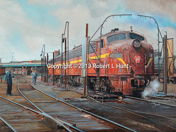Pennsylvania Railroad E8 diesel locomotive being cleaned and fueled in the wash rack, oil on canvas, 30x40.
