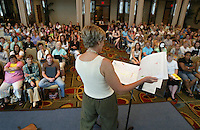 "Conductor Jeannette Ebelhar (JEANNETTE EBELHAR) leads a rehearsal of the Southern Arizona Women's Chorus, Pope John Paul II High School Advanced Women's Chorus and St. Cecilia Academy Chorus at the Grand Hyatt in New York, NY on Friday, June 23, 2006.  The Chorus performed Brusa's ""Missa pro defunctis"" and Beach's ""The Rose of Avontown, Op. 30"" at Carnegie Hall on Sunday night."