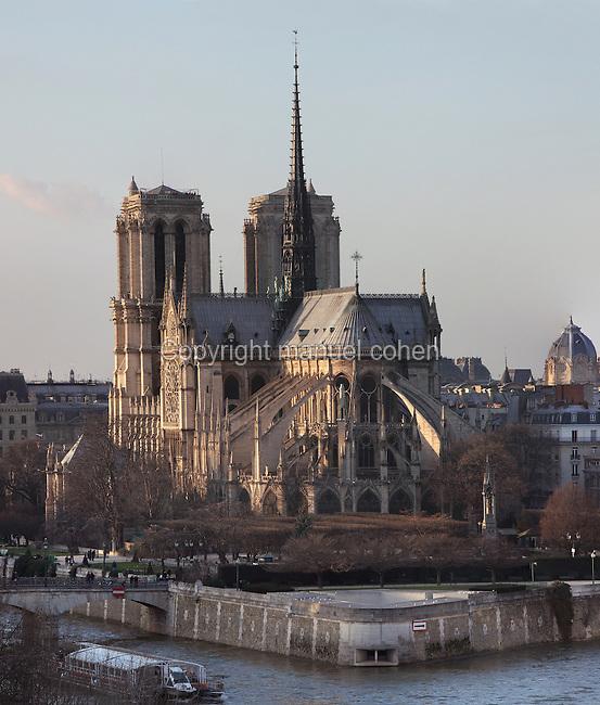 Chevet, Notre Dame de Paris, 1163 - 1345, initiated by the bishop Maurice de Sully, Ile de la Cité, Paris, France. Picture by Manuel Cohen