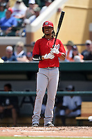 Washington Nationals shortstop Emmanuel Burriss (16) during a Spring Training game against the Detroit Tigers on March 22, 2015 at Joker Marchant Stadium in Lakeland, Florida.  The game ended in a 7-7 tie.  (Mike Janes/Four Seam Images)