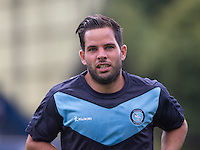 Matt Bloomfield of Wycombe Wanderers during warm ups during the Sky Bet League 2 match between Wycombe Wanderers and York City at Adams Park, High Wycombe, England on 8 August 2015. Photo by Andy Rowland.