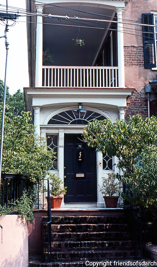 Charleston: Charleston house, Tradd St. Door, piazza.  Photo '78.
