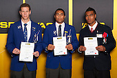 Boys Rugby Union finalists Scott Scrafton, Joseph Edwards and Lolagi Visinia. ASB College Sport Young Sportsperson of the Year Awards held at Eden Park, Auckland, on November 24th 2011.