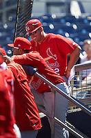 Palm Beach Cardinals coach Donnie Ecker (12) talks with manager Oliver Marmol (7) in the dugout during a game against the Charlotte Stone Crabs on April 10, 2016 at Charlotte Sports Park in Port Charlotte, Florida.  Palm Beach defeated Charlotte 4-1.  (Mike Janes/Four Seam Images)