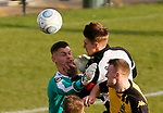 Darlington's Terry Galbraith collides with his goalkeeper Jonny Maddison. Galbraith suffered concussion and a suspected broken nose. Maddison was able to continue after treatment. Darlington 1883 v Southport, National League North, 16th February 2019. The reborn Darlington 1883 share a ground with the town's Rugby Union club. <br /> After several years of relegations, bankruptcies, and ground moves, the club is fan owned, and back on an even keel in the National League North.<br /> A 0-0 draw with Southport was marred by a broken leg and dislocated knee suffered by Sam Muggleton, Darlington's on loan left back.<br /> Both teams finished the season in lower mid table.