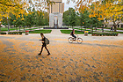 Sep. 30, 2014; Fall leaves near Stonehenge. (Photo by Matt Cashore/University of Notre Dame)